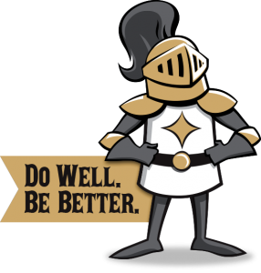Cartoon knight with banner reading 'Do Well. Be Better.'